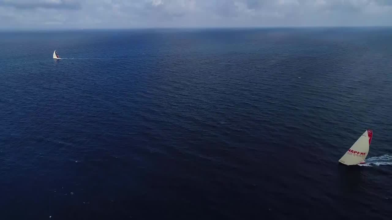 Drone shots of Scallywag and MAPFRE with low sun behind them.