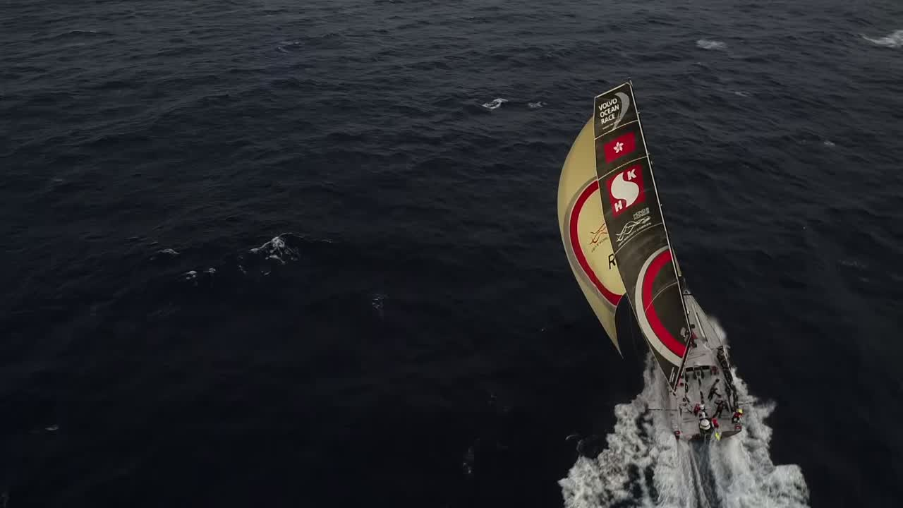 Awesome drone shots of Scallywag running on starboard gybe with the A3 and J3 staysail. The boat is surfing; wind appears to be close to 20 knots. I don't think I've seen any other drone shots showing the boat going that fast.