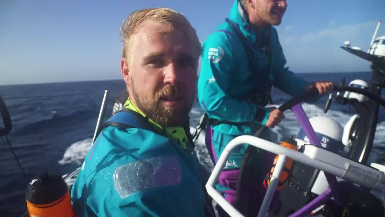 "Brad (gesturing at Dongfeng, off camera): ""If we hold these guys off that'd mean we had 6th place. But if we hold these guys *and* the guys behind them off, that'd be 3rd place."" Nicolai, on the helm: ""That was funny. You're a funny man."" Brad: ""Stop it."""
