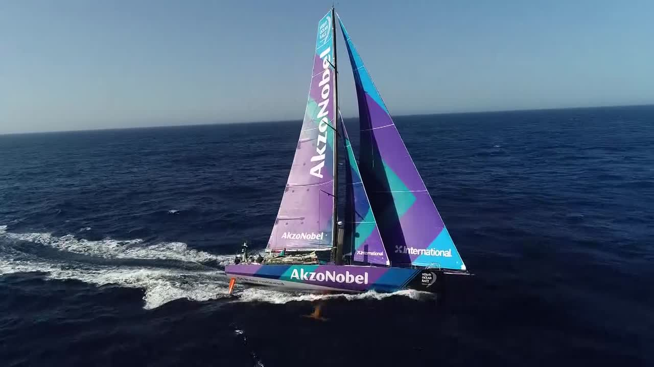 Single drone shot of AkzoNobel going to weather with J0 and J3. Dongfeng visible in the distance behind and to leeward.