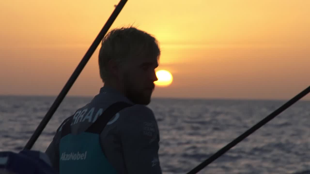 Slomo shot of Brad looking at the sunrise.