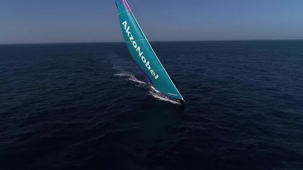 Drone shot circling AkzoNobel going to weather in light wind with the J0 and J3.
