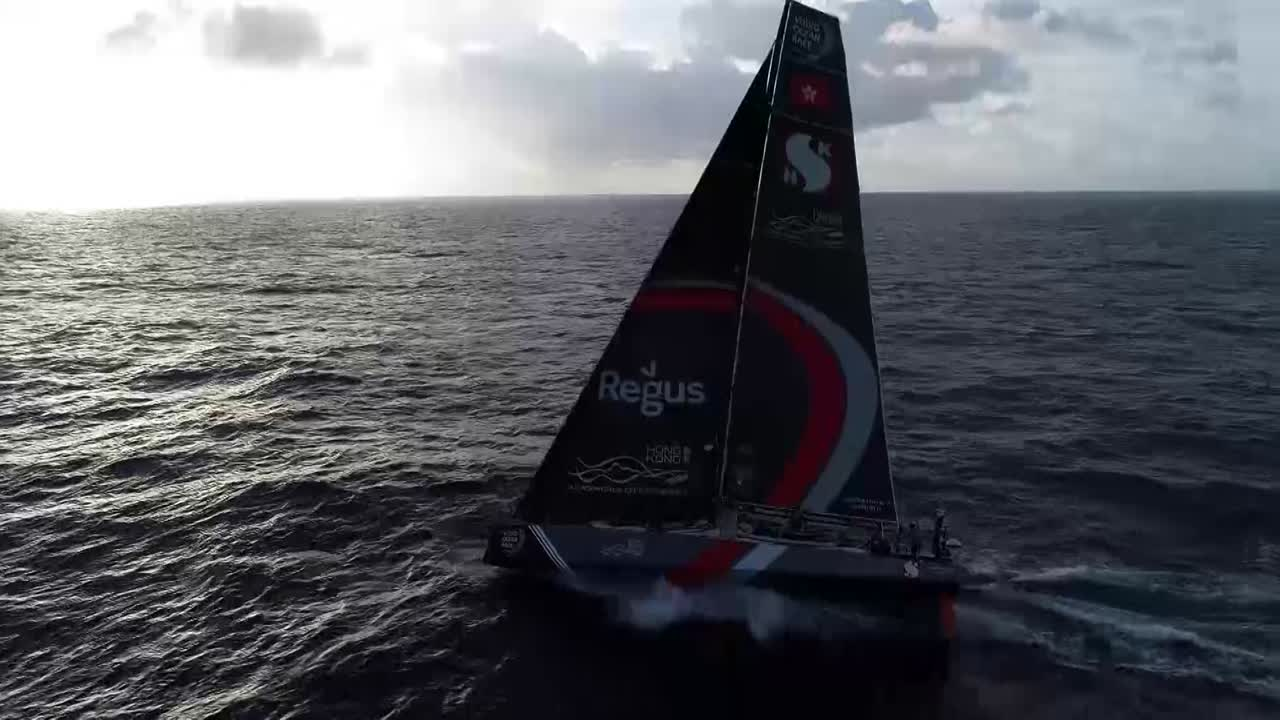 Afternoon drone shots of Scallywag gonig upwind on port with full main and J1 (I think).