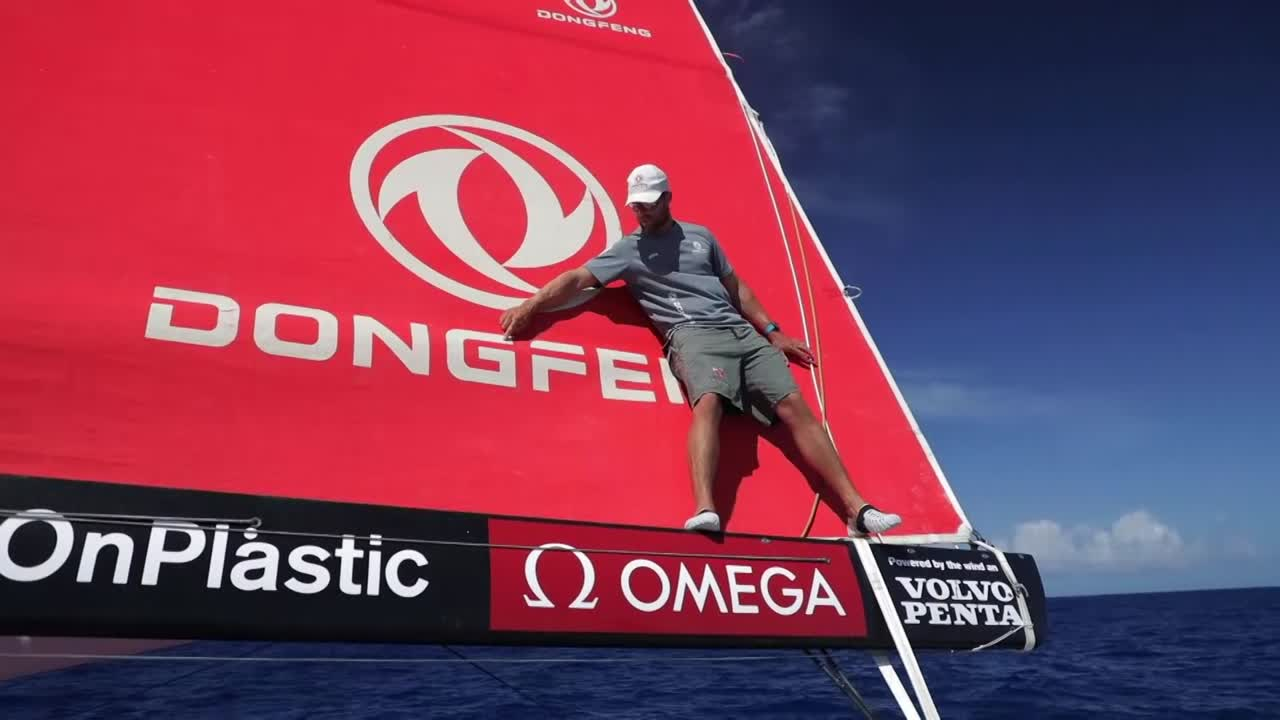 "Daryl stands on the boom and points out the letters on the branding. Daryl: ""This one's for you Phil. This is how you spell Dongfeng. D-O-N-G-F-E-N-G. Dongfeng!"" Update: Per the DF twitter, it's ""Daddy's spelling lesson."" So maybe Phil is Daryl's son. https://twitter.com/DongfengRacing/status/932539685028749312"