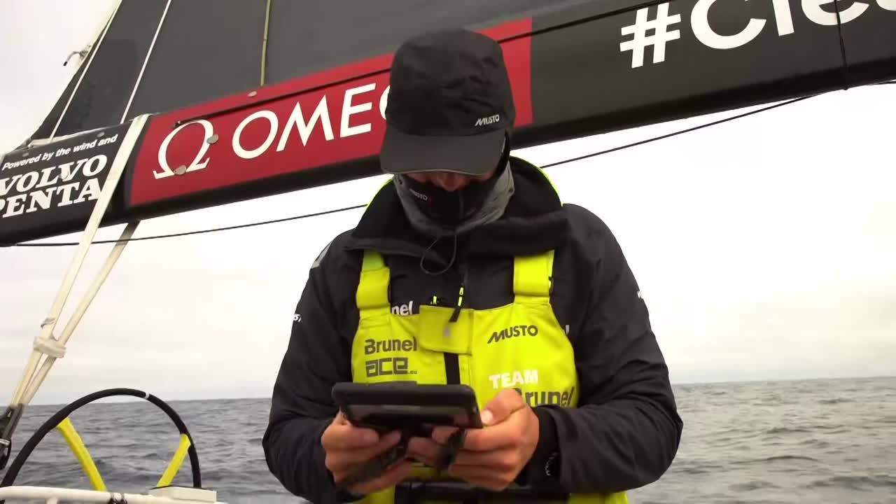 "Kyle, in the cockpit, looks at the teaser images of the new America's Cup foiling monohulls. ""It looks like a catamaran, but it's a monohull. I think it's cool. That's what the Amerca's Cup should be. Cutting edge, and the fastest monohull out there."""