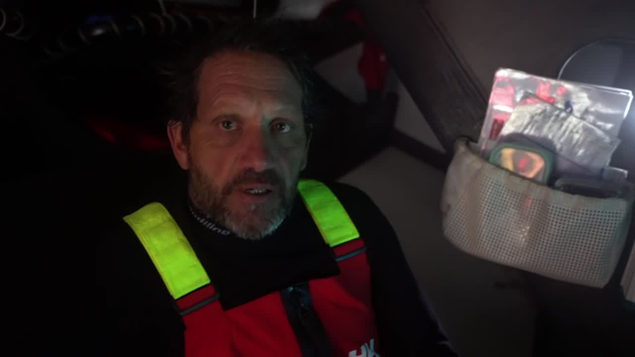 Below, Joan talks in Spanish. He then translates: They have a pretty steady breeze, and a reach with increasing wind, so they estimate finishing in Cape Town Friday afternoon or evening, 1700 or 1800 UTC.