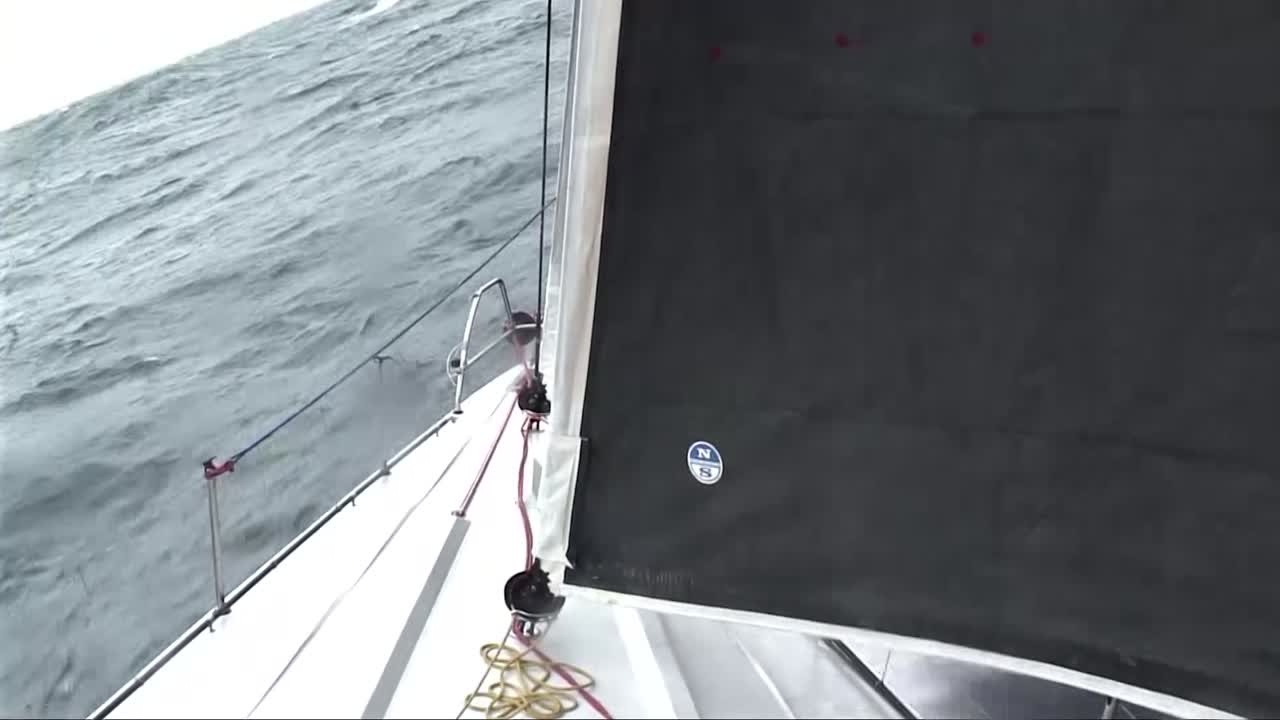 Looking forward, we see J3 unfurl in the foredeck cam. Spreader cam looking down as Scallywag triple-heads. Bow cam looking aft, stern cam looking forward as they surf in rough conditions.