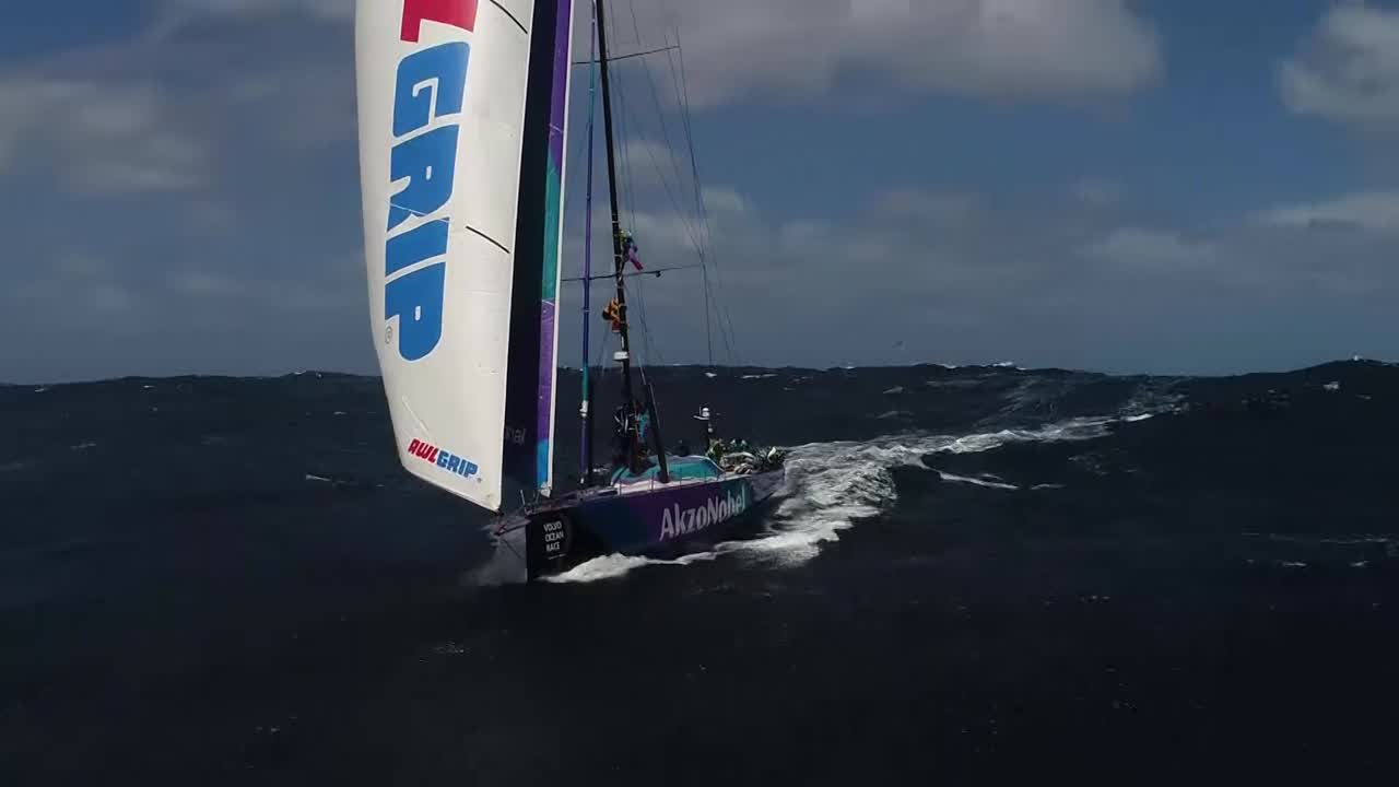 Oh wow. My jaw literally dropped watching that. Drone footage of AkzoNobel sailng under FR0 and J2 (I think?) with no main, as two crew members up the mast repair the track (I'm assuming). Epic low-altitude shots with Southern Ocean waves heaping up between the drone and the boat. Sheerwaters or albatrosses (gotta get a field guide to identify those better) swooping right past the drone multiple times. Final shot of crew working on the mast, then pulling back and climbing to show AkzoNobel surfing alone through the Southern Ocean. That's, like, the shot of the race for me right there.