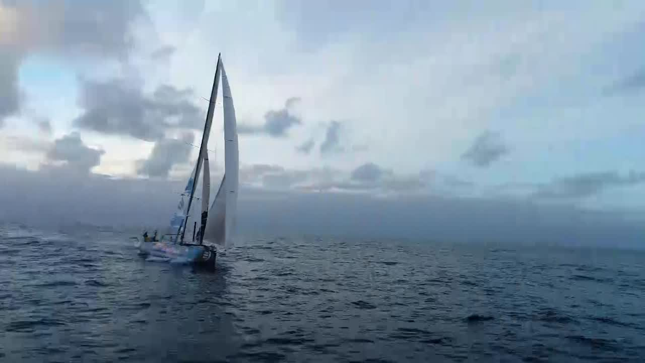 "Drone shots of TTToP sailing under MH0 and J3 in light winds. GoPro shot of Liz going to the masthead. At the masthead she holds Wisdom and voices him: ""Hi everybody! Volvo... Ocean.. Race... 'm going flying, watch me! They're fixing a sail down there. Look, ther'es another bird. Hi! I'm going back in Liz's pocket now. It's scary up here."" Back on deck, Wisdom talks about wanting to really fly. Dolphins under the bowsprit. Jérémie takes video of Liz taking a picture with her phone. On the foredeck, Bianca (?) works on repairing a sail. Martin and Frederico also repairing the sail. Frederico: ""On my Finn boat it's just put some duct tape and that's it."" Lucas paces in the cockpit. ""Long way to Melbourne like this, I'll tell you that. Seven knots. We might be there by NEXT Christmas if we're lucky.... No matter how sloe we go, Christmas keeps getting closer."" Nicolas talks about high pressure costing them access to the wind, could be 8 days to Melbourne."