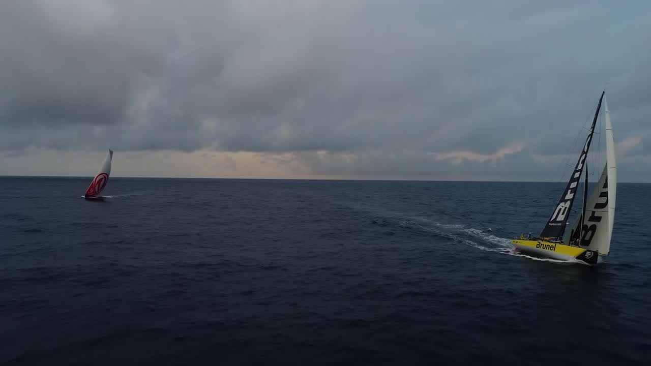 Drone shots of Brunel and Dongfeng sailing along a few hundred yards from each other.