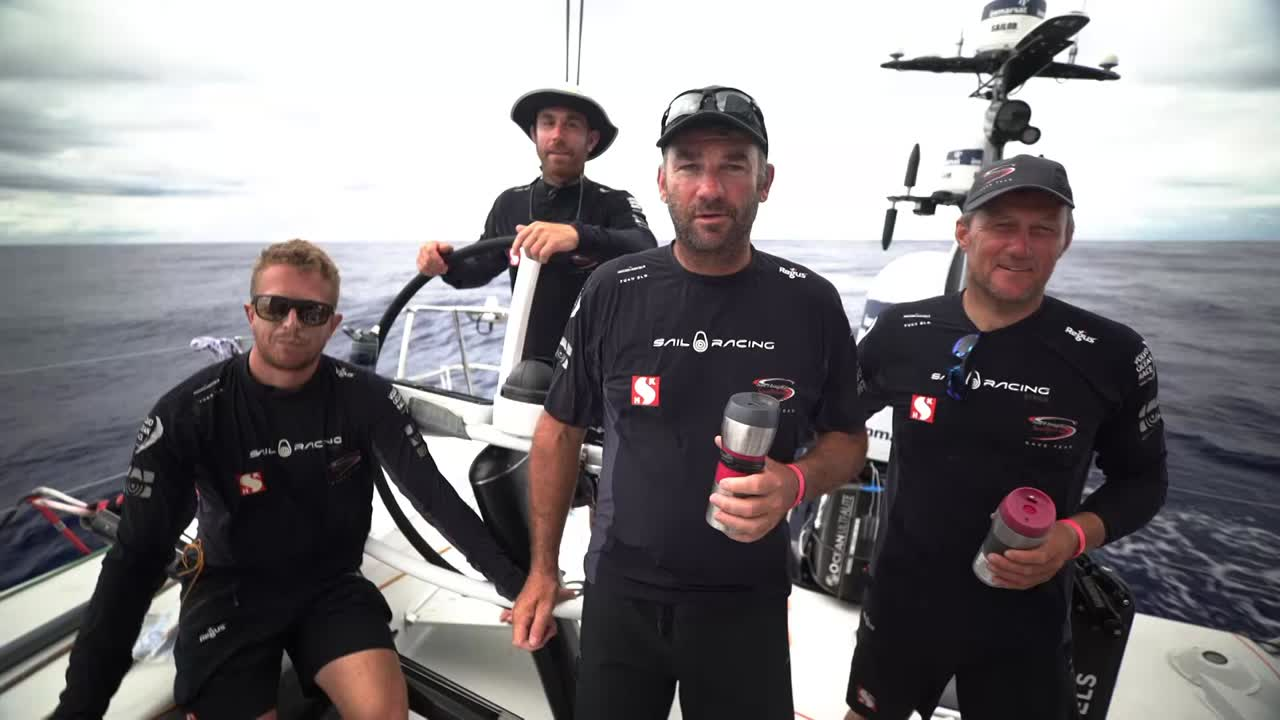 "Witty and 3 other sailors (Ben, Fish, and I think Marcus?) wish happy Chinese New Year to their supporters in Hong Kong: ""Gung Hay Fat Choi!"""