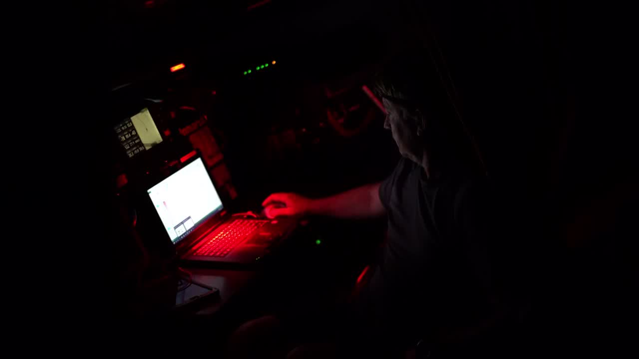 Capey at the nav station. Chart software. Night shots on deck. Instruments on the mast. A crewmember shines a flashlight up. Spray. Talk about needing a line to tack the J3 (I think?). Sunrise. Alberto on the helm. Sally with the sun behind her. Bouwe: Unfortunately the weather didn't do what it was supposed to do. Center of the high pressure is right on our track. Not very nice, but the only way for us to go. Other boats have a more lifted breeze, more pressure. The next 24 hours will not be very pretty. We'll go from being near the top to being even last. Stacking aft. Peter and Kyle grinding. Bouwe calls up the (expected) bad sched results. Instruments. Kyle: Distance to finish number doesn't really go down very quickly. Almost more painful than not having it there.